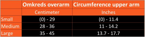 Størrelsesguide til okklusionsbånd arme
